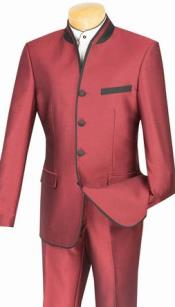 Mens Burgundy Mandarin Suit Slim Fit