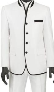 Mens Slim Fit Mens White Mandarin Collar
