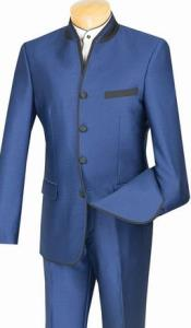 Mens Blue Mandarin Collar Suit Slim Fit