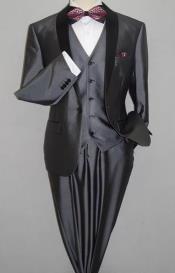 Grey Suit With Black Lapel