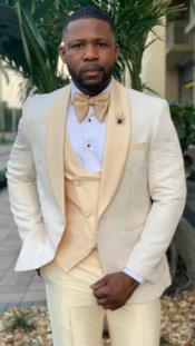 Champaign Suit - Mens Cream Suit - Ivory Suit - Off White