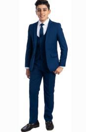 Perry Ellis Boys Suit - Indigo Blue Kids Suit - Children Suit