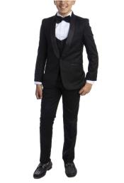 Perry Ellis Boys Suit - Black Kids Suit - Children Suit