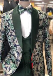 Green Tuxedo - Olive Paisley Floral Suit