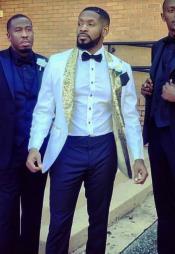 White and Gold Tuxedo Dinner Jacket - Gold Blazer