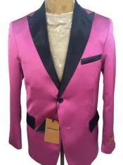 Mens Two Button Peak Lapel Suit Rose