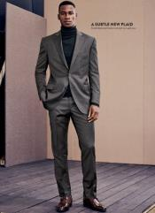 Mens Turtleneck Suit + Free Turtleneck Sweater Package - Gray Mens Suit