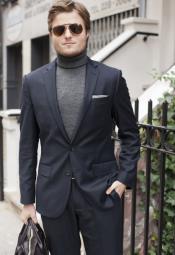 Mens Turtleneck Suit + Free Turtleneck Sweater Package - Dark Gray Mens