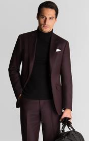Mens Turtleneck Suit + Free Turtleneck Sweater Package - Burgundy Mens Suit