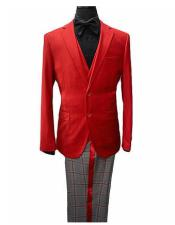 Mens Two Button Notch Lapel Three-Piece Red Suit