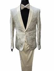 Ivory Paisley Suit - Cream Tuxedo