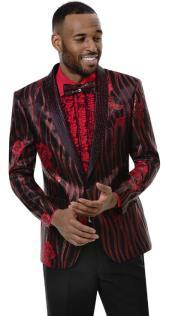 Mens Black ~ Red Blazer