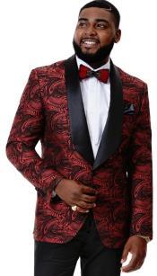 Mens Black and Red Blazer