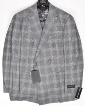 1920s Mens Fashion - Gray and Blue Window Pane - Grey Plaid
