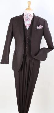 Brown Tone on Tone Vested - Brown Vested 3 Piece Suit -