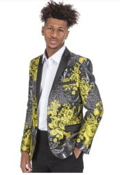 Mens Yellow Tuxedo Suit - Floral Fancy Prom Suit With Pants and