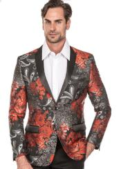 Mens Red Tuxedo Suit - Floral Fancy Prom Suit With Pants and