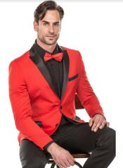Mens Red Tuxedo Suit - Floral Fancy Prom Suit With Pants and Matching Bowtie