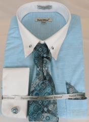 Mens Dress Shirt Point Collar Teal