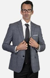 Mens 2-Button Single Breast Suit Black and Heather Grey Plaid