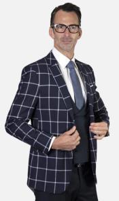 Mens 2-Button Single Breast Suit Navy Windowpane