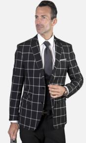 Mens 2-Button Single Breast Suit Onyx Black Windowpane