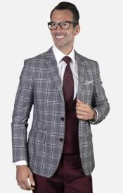 Mens 2-Button Single Breast Suit Burgundy - Grey and White Plaid