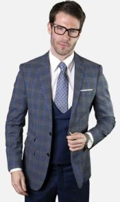 Mens 2-Button Single Breast Suit Sapphire and Navy Plaid