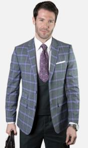 Mens 2-Button Single Breast Suit Hunter Green and Purple Plaid