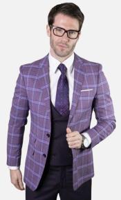 Mens 2-Button Single Breast Suit Eggplant and Dark Purple Plaid