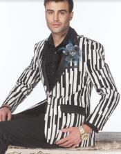 White and Black Pinstripe Blazer - White Tuxedo Jacket + Black Pants