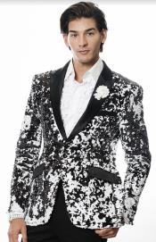 White and Black Blazer - White Tuxedo Jacket + Black Pants +