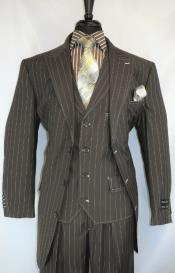 1920s Suit - Gangster Suits - Bold Pinstripe Zoot Suit  Pleated
