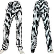 White and Black Stripe Dress Pants - Piano Print