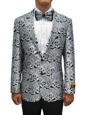 Light Grey Tuxedo Suit - Prom Suit - Wedding Suit - Groom Suit - Sharskin Shiny Suit
