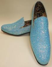 Mens Light Blue Glitter Formal Slip On Dress Loafers After Midnight 6683
