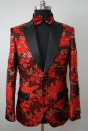 Mens Paisley Tuxedo - Paisley Blazer - Prom Sport Jacket With Matching Bowtie - Red and Gold Blazer