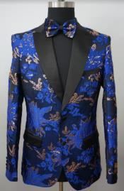 Mens Paisley Tuxedo - Paisley Blazer - Prom Sport Jacket With Matching Bowtie - Royal Blue and Gold
