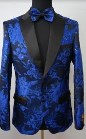Mens Paisley Tuxedo - Paisley Blazer - Prom Sport Jacket With Matching Bowtie - Rose Gold - Pink
