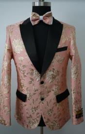 Mens Paisley Tuxedo - Paisley Blazer - Prom Sport Jacket With Matching Bowtie - Royal Blue Blazer