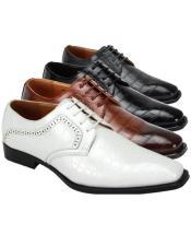 Alligator Pint Shoe Black - Grey - Light Brown - White -