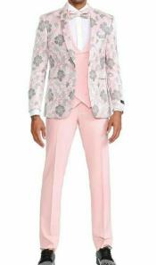 Mens Pink Floral 3 Piece 1 Button Slim Fit Tuxedo With Matching