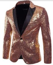 Rose Gold Tuxedo With Black Pants and Bow Tie - Rose Gold