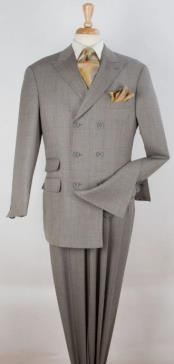 Apollo King Mens 3 Piece 100% Wool Double Breasted Suits - Pleated