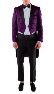 Tailcoat - Tail Tuxedo - Fashion Tuxedo Dark Purple