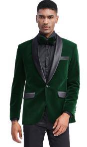 Mens Emerald Green Velvet Tuxedo Jacket Slim Fit with Shawl Lapel -