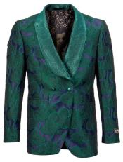 Mens Green Tuxedo Jacket with Floral Pattern Shawl Lapel Double Breasted -