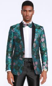 Mens Green and Rose Tuxedo Jacket Floral Pattern Slim Fit - Blazer