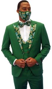 Mens Green Tuxedo with Floral Pattern with Matching Face Covering 5-Piece Set