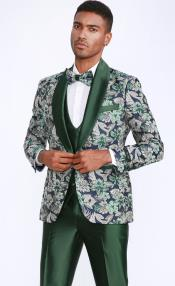 Mens Green Tuxedo with Floral Pattern Four Piece Set - Wedding